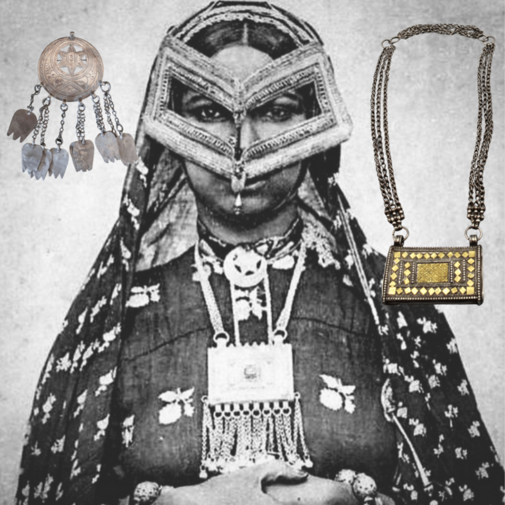 A woman from Muscat, photographed in 1901 by A. Fernandez. Jewellery added by Sigrid van Roode